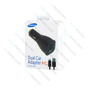 Samsung Dual USB Adapter Fast Car Charger with Micro USB Cable black (Original)