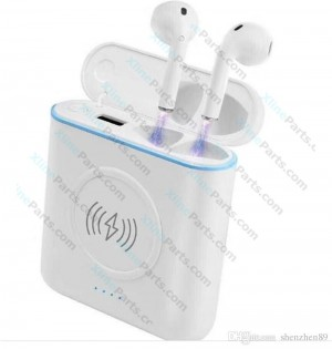 3 in 1 Bluetooth Headset Wireless Charger Power Bank 5200 mAh white