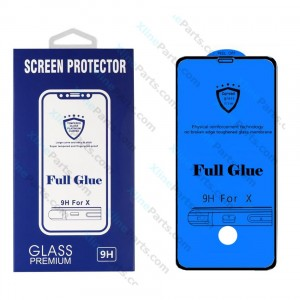 Tempered Glass Screen Protector Full Glue Hole FingerPrint Samsung Galaxy S10 Plus G975 black
