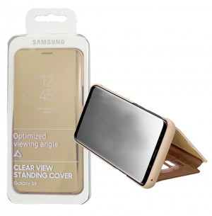 Flip Case Samsung Galaxy S9 G960 Clear View Standing gold (Original)