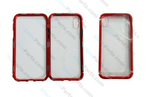 Metal Magnetic Case iPhone X/XS Transparent red