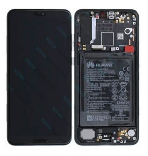 LCD with Touch and Frame Complete Huawei P20 Pro with Internal Battery black (Original)