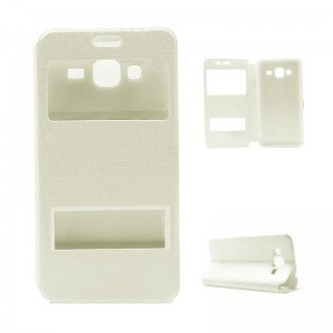 Flip Case Leather with Holder Samsung Galaxy J300 white