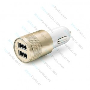 Car Charger Adapter Dual USB Metal gold