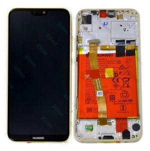 LCD with Touch and Frame Complete Huawei P20 Lite with Internal Battery gold (Original)