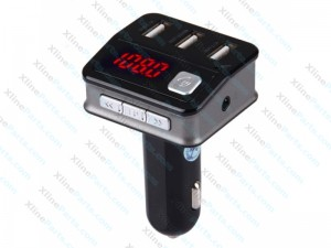 Car Charger Multi-Functional Wireless Bluetooth 5.2A 3 USB & Stereo HiFi FM Radio & LED Vol-Disp black