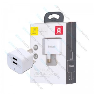 Travel Charger Baseus Funzi Dual USB Power Adapter 3 Pin white (Original)