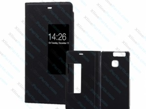 Flip Case Leather Smart Window Huawei P9 black