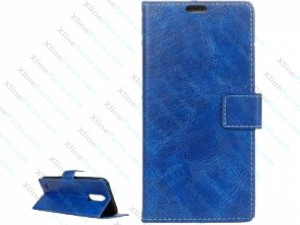Flip Case Leather with Holder & Card Slot & Wallet & Photo Frame LG K8 (2017) blue