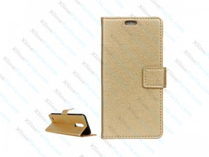 Flip Case Leather LG K10 (2017) gold