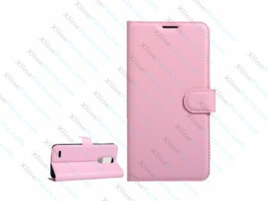 Flip Case Leather Magnetic Buckle LG K10 (2017) pink