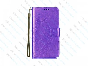 Flip Case Leather with Holder & Card Slots & Wallet LG K8 (2017) purple