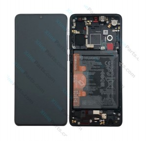 LCD with Touch and Frame Complete Huawei P30 with Internal Battery black (Original)