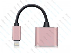 Headphone jack Adapter iPhone 7/8/X  Headphone Adapter 2 in 1 Call & Music Charger pink