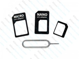 SIM Card Adapter 4 in1 Nano SIM to Micro SIM white