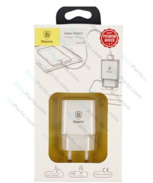 Travel Charger Baseus Letour USB Power Adapter 2 Pin white (Original)
