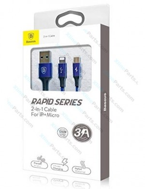Data Cable Baseus Rapid Series Lightning/MicroUSB 1.2m dark blue AAA