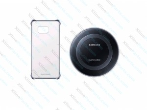 Samsung Fast Charge Wireless Charging black & Samsung S6 Edge Clear Cover (Original)