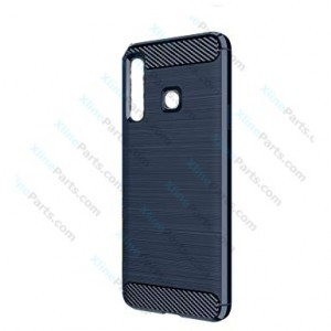Silicone Case Carbon Samsung Galaxy A9 (2018) A920 dark blue