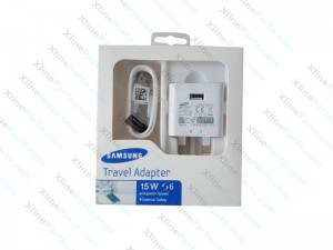Travel Charger Samsung with Cable Micro  USB Power Adapter 3 Pin white
