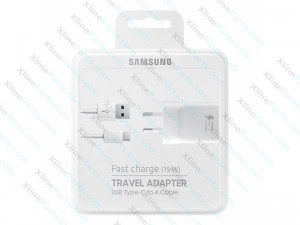 Travel Charger Samsung with Cable Type C Power Adapter 3 Pin black AAA