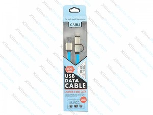 Universal Charging Cable USB 2 in 1 Samsung / iPhone 8 1m