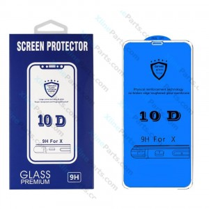 Tempered Glass Screen Protector 10D Apple iPhone X/XS white